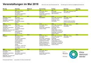 Monatsübersicht alle Veranstaltungen der Klimawerkstatt Werder im Mai 2018