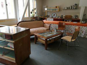 Café-Ecke im Veranstaltungsraum der Klimawerkstatt Werder